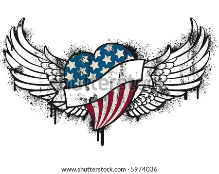patriot grunge heart - stock vector