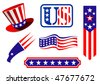 Patriotic American emblems incorporating the red, white and blue colours and stars and stripes pattern of the national flag as banners, a flying eagle and a tophat. Jpeg version is also available - stock photo
