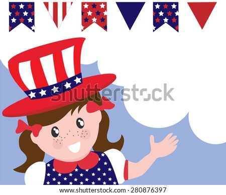 Patriotic american girl celebrating Independence day. Copy space for your message.