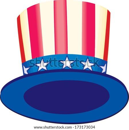 Patriotic American top hat - stock vector