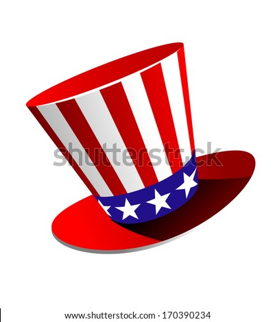 Patriotic American top hat in the red, white and blue colours of the Stars and Stripes at a jaunty angle on a white background. Rasterized version also available in gallery