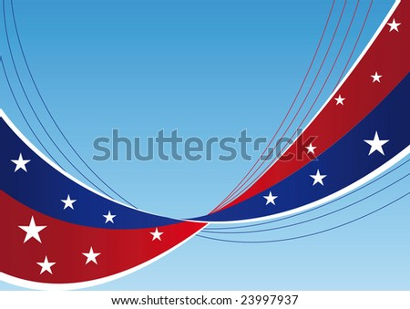 Patriotic background - waves and lines with stars and stripes - find jpeg-Version in my portfolio