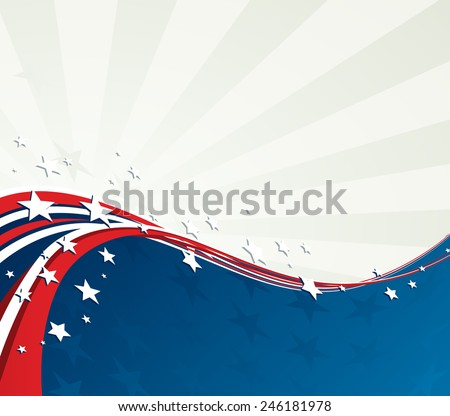 Patriotic background with American flag and star. Retro design. Independence Day background. 4th of July  - stock vector