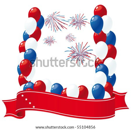 patriotic banner with balloons - stock vector