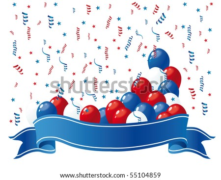 patriotic banner with balloons 2 - stock vector