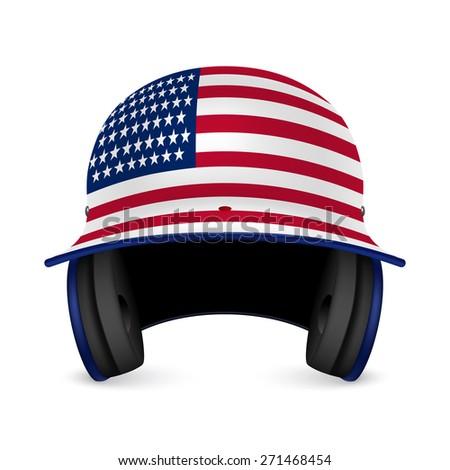 Patriotic baseball helmet - US flag. Vector EPS10 illustration.  - stock vector