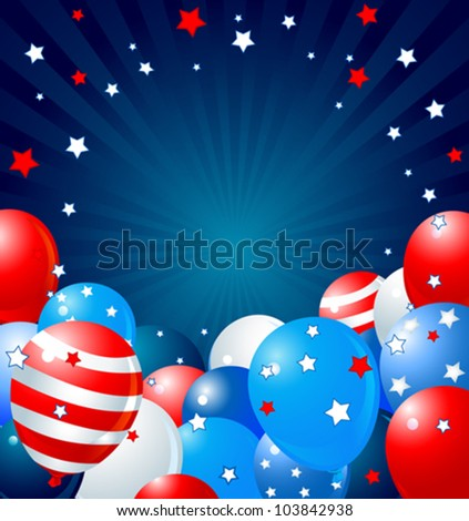 Patriotic border of multicolored balloons