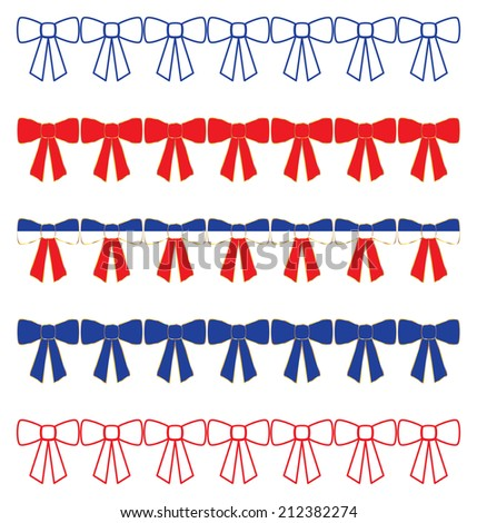 Patriotic Bow Borders - stock vector
