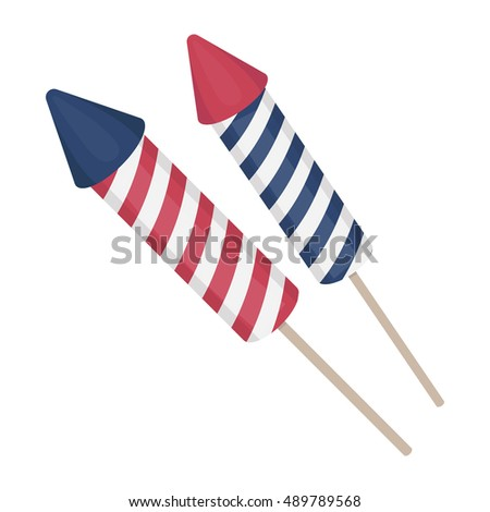 Patriotic fireworks icon in cartoon style isolated on white background. Patriot day symbol stock vector illustration.