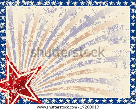 Patriotic Frame with Stars and Grunge. Grunge grouped for easy removal - stock vector
