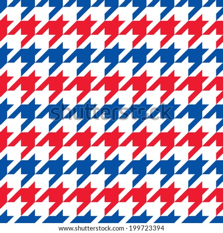 Patriotic Houndstooth Pattern in red, white and blue horizontal stripes repeats seamlessly. Colors are grouped for easy editing. - stock vector