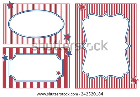 Patriotic or celebration striped frames. - stock vector
