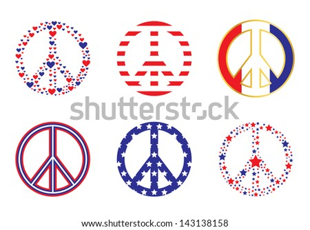 Patriotic Peace Signs - stock vector