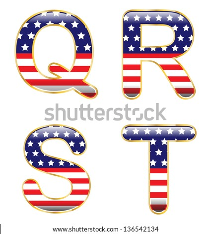 Patriotic QRST - stock vector