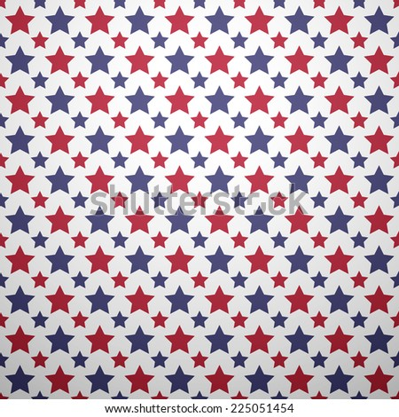 Patriotic red, white and blue geometric seamless pattern. Vector set with American symbols. USA flag.