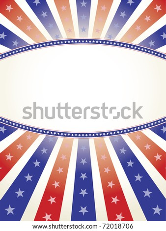 Patriotic red white and blue with copy space oval in middle - stock vector