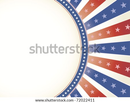 Patriotic Red White Blue star and burst design with copy space - stock vector