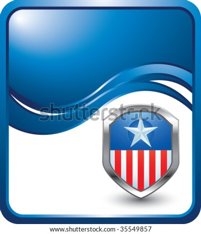 patriotic shield or badge on modern blue wave background - stock vector
