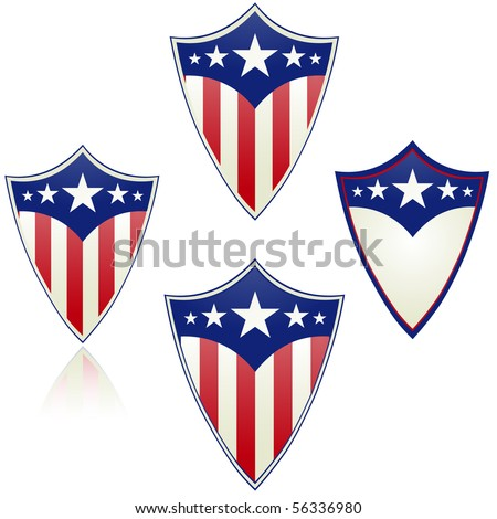Patriotic shield vector isolated on white - stock vector