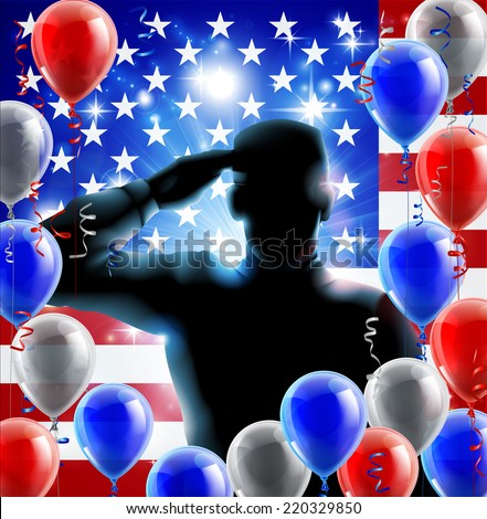 Patriotic soldier or veteran saluting in front of an American flag fourth July or independence day background with red white and blue balloons and ribbons  - stock vector