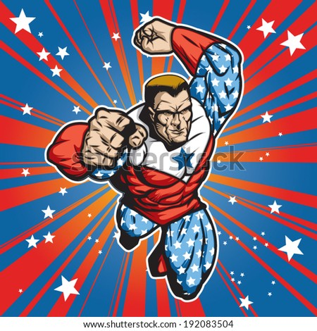 Patriotic superhero figure flying forward at a fast pace. Layered & easy to edit.  - stock vector