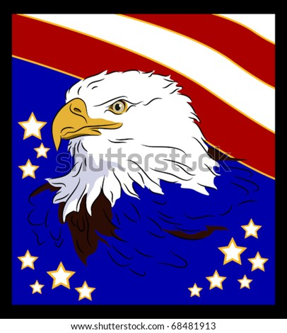 Patriotic symbol of United States of America, bald eagle in profile with stars and stripes