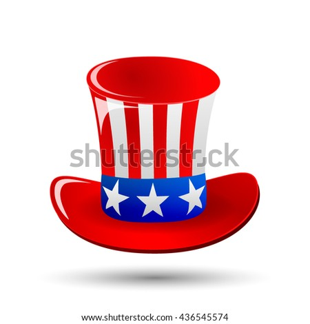 Patriotic Uncle Sam hat for 4th of July public holiday card greetings in vector format. Cartoon or doodle style. Patriotic Uncle Sam isolated. Patriotic Uncle Sam with American stars and stripes.
