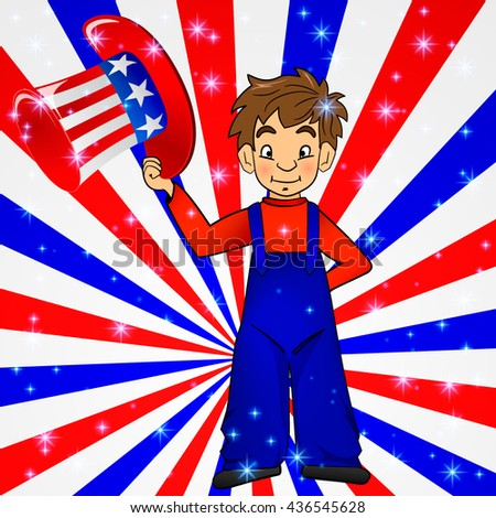 Patriotic Uncle Sam hat in young america boy hand: for 4th of July public holiday card greetings, vector. Cartoon, doodle style. American stars, stripes background in national colours: red blue white - stock vector