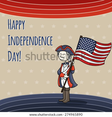 Patriotic USA background with Cartoon man celebrating Independence Day wearing a national costume and holding a flag. Cute American boy in a 4th of July dressed like soldier. Vector illustration. - stock vector