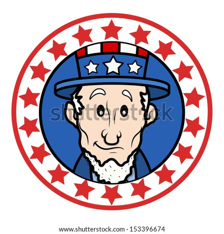 Patriotic USA Theme Circular Design with Abraham Lincoln Wearing Uncle Sam Hat Vector - stock vector