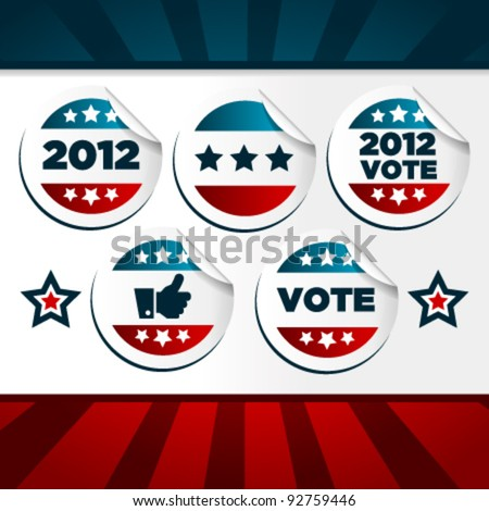 Patriotic Voting Stickers. - stock vector