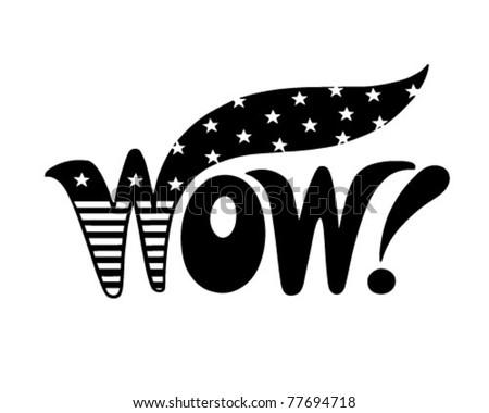 Patriotic Wow - Retro Clip Art Illustration - stock vector