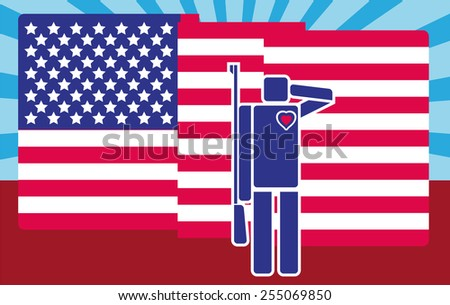 Patriotism Concept - Cartooned Soldier Saluting American Flag on Abstract Background.  Pictogram and flat design style - stock vector
