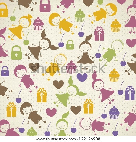 patron of children, child background with colored hearts and cupcakes ...