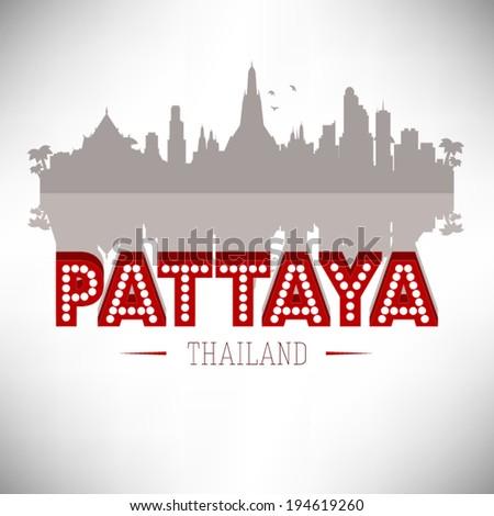 Pattaya Thailand skyline silhouette vector design. - stock vector