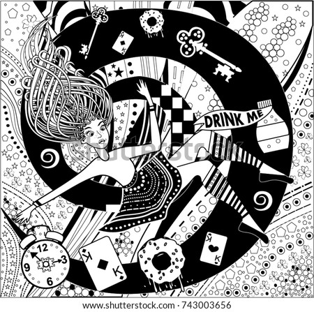 Pattern Alice Wonderland Coloring Book Page Stock Vector 743003656 ...