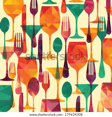 pattern background. Fork, knife, glasses and spoon silhouettes  - stock vector