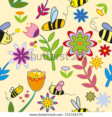 pattern background spring of colorful flowers bees