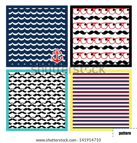 Pattern, background, texture with mustache and water anchor - stock vector