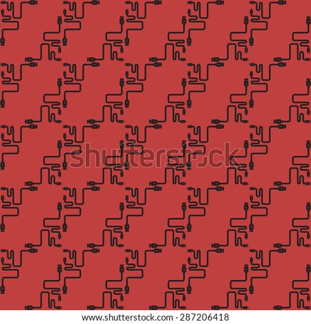 pattern background  usb, red, plug wire cable computer  - stock vector