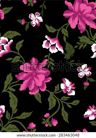 Pattern bouquet of orange flowers on a black background.Repeat on step. - stock vector