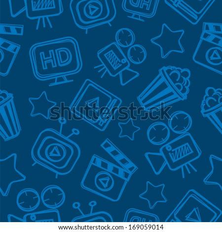 Pattern cinema doodles - stock vector
