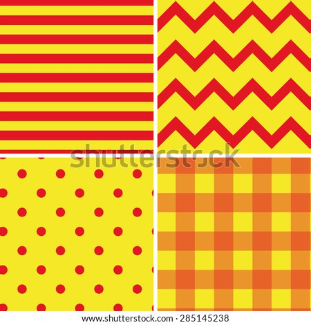 Pattern Collection Seamless Retro Background with 4 pattern for different purchase - stock vector