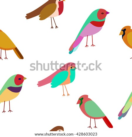 pattern colored birds. Spring birds seamless pattern. Colorful texture