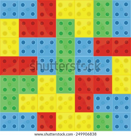 Pattern colorfull building blocks lego, blue, green, yellow and red, seamless - stock vector