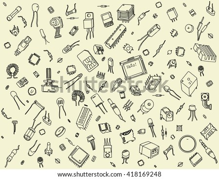 Pattern containing of various electronic components: microprocessors, logical digital microchips, transistor, capacitor, resistor, LED, sensor, sim card, fuse, cpu, connector, etc. on beige background - stock vector