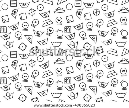 Pattern created from laundry washing symbols on a white background. Seamless vector