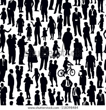 Pattern - crowd of people walking on a street. - stock vector