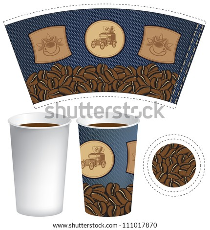 pattern cup of coffee with the texture of denim - stock vector
