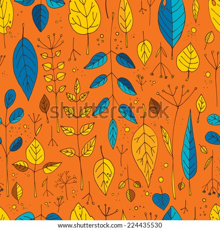Pattern drawn leaves, ornamental leaves. Vector elements. - stock vector